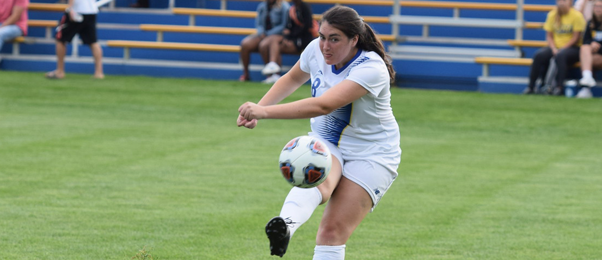 Bee Murphy scored on a corner kick in Western New England's season-opening 2-0 victory over Keene State on Saturday. (Photo by Rachael Margossian)