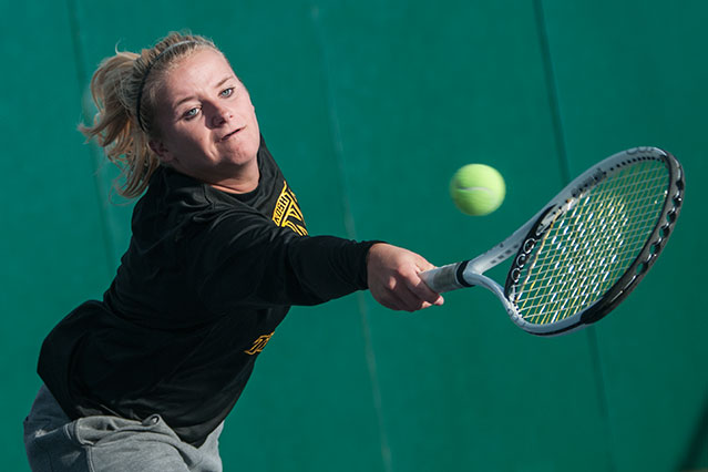 The Titans' Valerie Langkau earned a 6-2, 6-1 victory at No. 3 singles