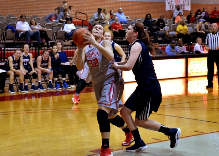 Junior Juliette Harp scored 25 points and pulled down 11 rebounds in a 60-58 win over Covenant on Friday night. (Photo by Wesley Lyle)