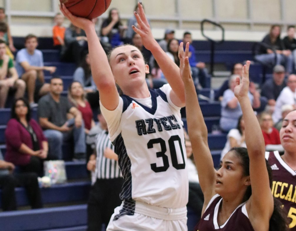 Sophomore Hallie Lawson (Campo Verde HS) scored 22 points on 10 for 16 shooting as the No. 11 ranked Aztecs women's basketball team beat Tohono O'odham Community College 81-74. The Aztecs improved to 7-3 overall and 4-2 in ACCAC conference play. They are off for winter break until Dec. 30. Photo by Stephanie Van Latum