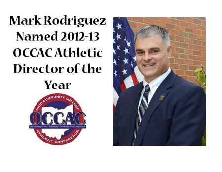 Cuyahoga Community College's Mark Rodriguez has been named the OCCAC Athletic Director of the Year in the OCCAC.