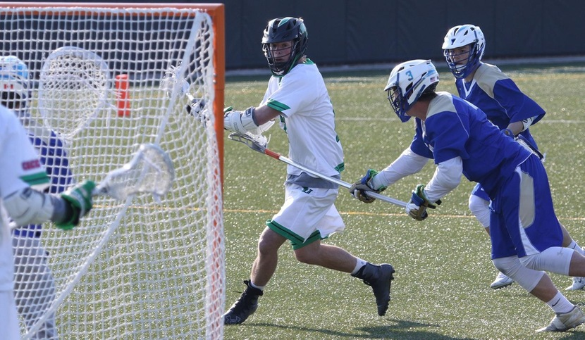 Copyright 2018; Wilmington University. All rights reserved. Photo of James Colligan about to score his first career goal, taken by Frank Stallworth. April 11, 2018 vs. Georgian Court.