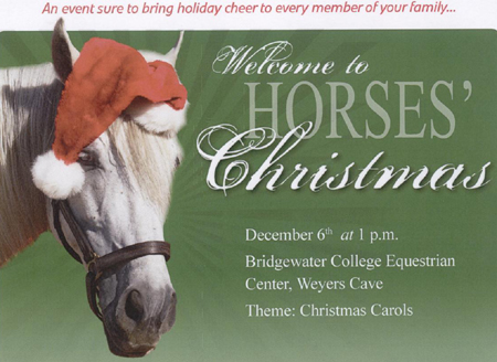 "Bridgewater College Riders Hosting ""Horses' Christmas"" on Dec. 6 at the Bridgewater College Equestrian Center"