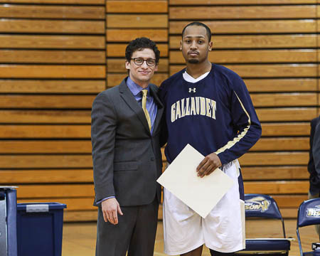 Gallaudet's Jeremy Adams with Coach Stern