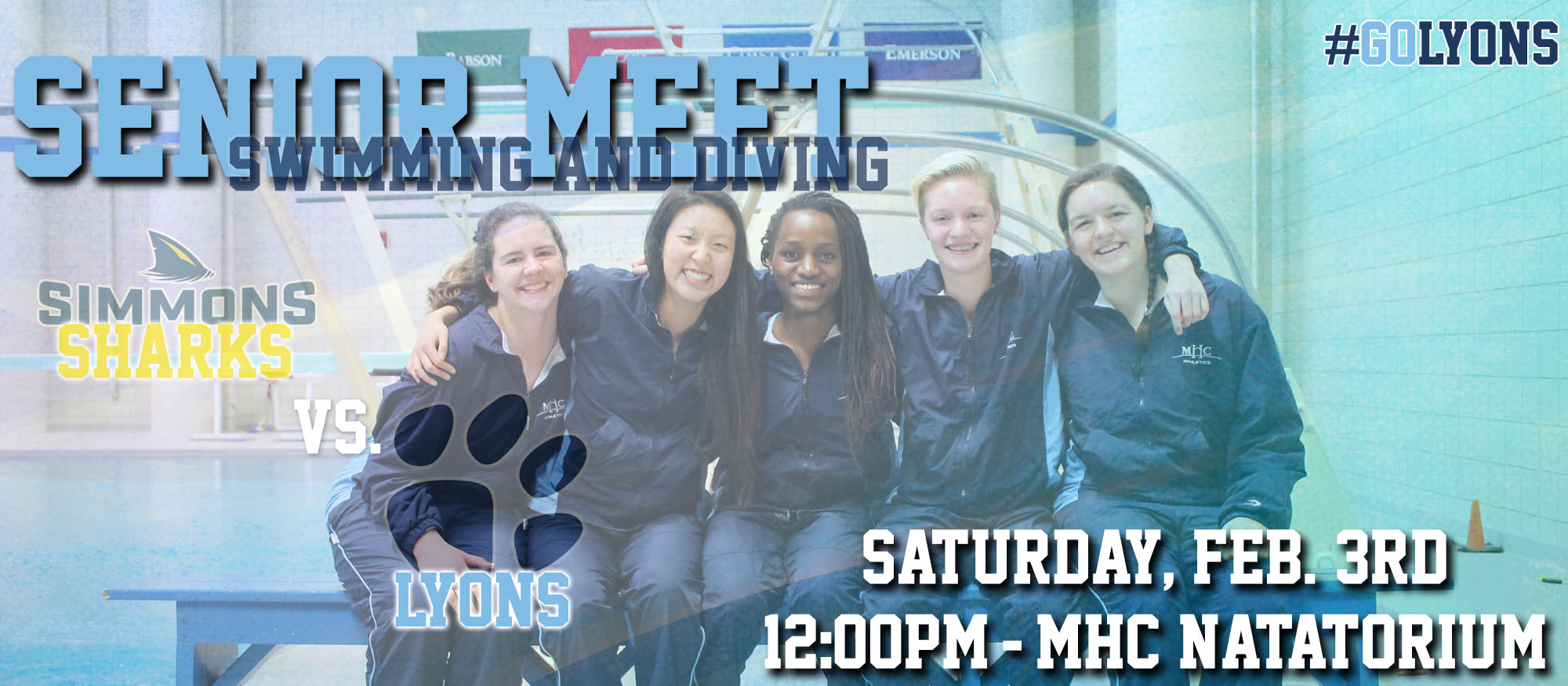 Graphic advertising the Saturday, February 2nd Lyons swimming & diving home meet at 12pm against Simmons. The event also marks Senior Day for the Lyons five graduating seniors.