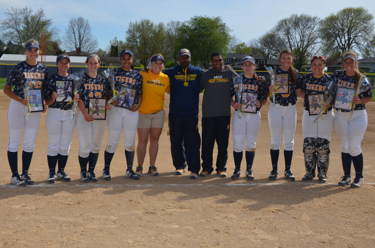 Eight members of the MCC softball team were honored during the final regular season home games on Sunday