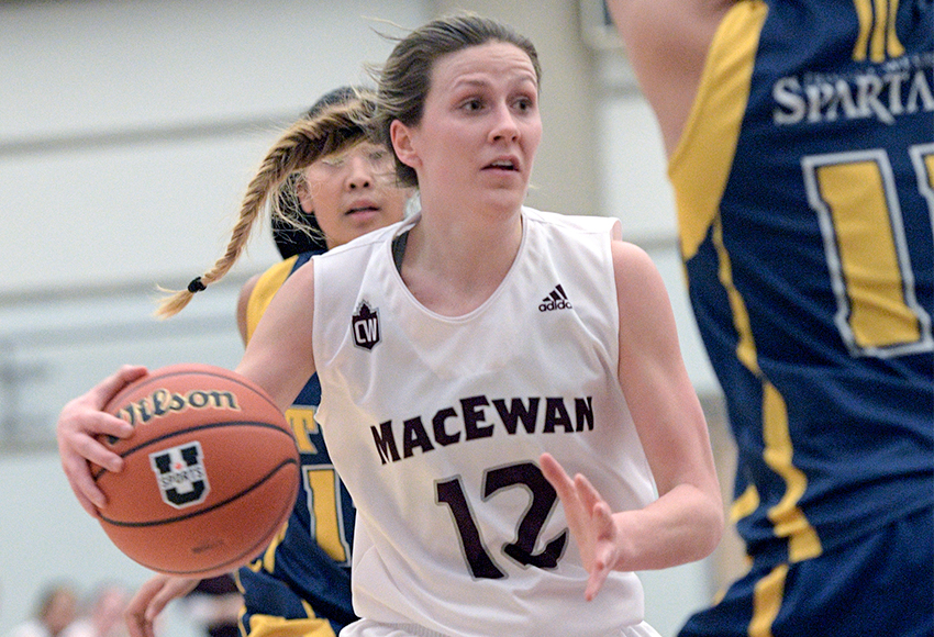 Kayla Ivicak had 20 points and 11 rebounds against Trinity Western on Friday for her ninth double-double of the season - a new MacEwan Canada West record (Chris Piggott photo).