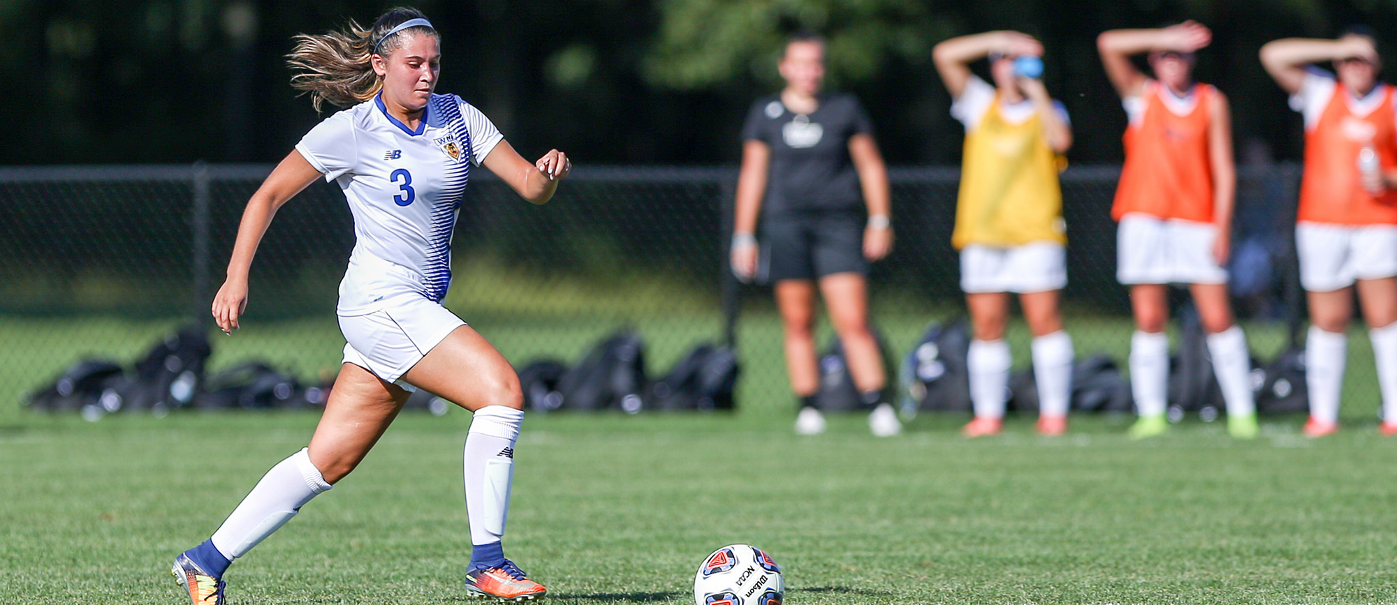 Morgan Smith scored her team-leading fifth goal of the season in overtime to lift WNE to a 1-0 CCC road win at Nichols on Saturday night. (Photo by Chris Marion)