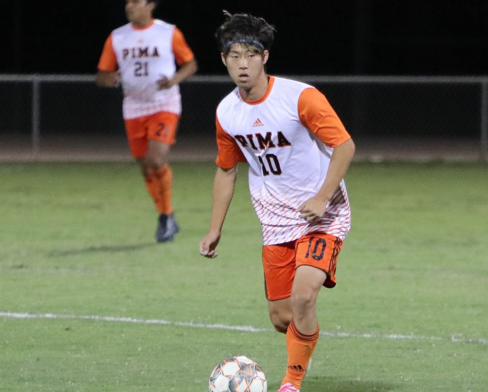 Sophomore Itsuki Ishihara had a hat trick and an assist as the No. 3 seeded Aztecs men's soccer team advanced to the Region semifinals after beating No. 6 Mesa Community College 6-1 on Monday at Kino North Stadium. The Aztecs play at No. 2 Yavapai College on Wednesday at 2:00 p.m. Photo by Stephanie Van Latum.