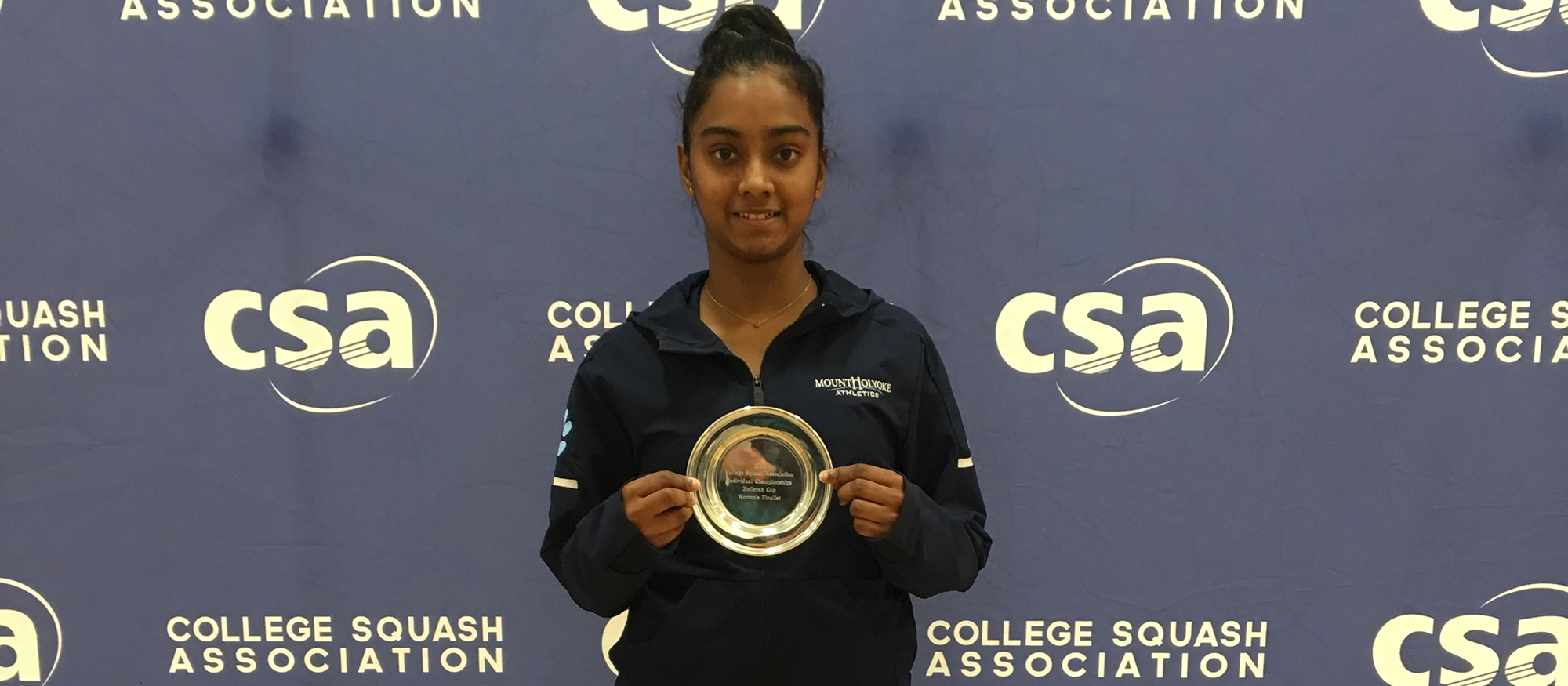 Photo of Lyons squash player, Mihiliya Kalahe Arachchige at the 2019 CSA Individual Nationals. Photo by Nadindhi Udangawa '19.