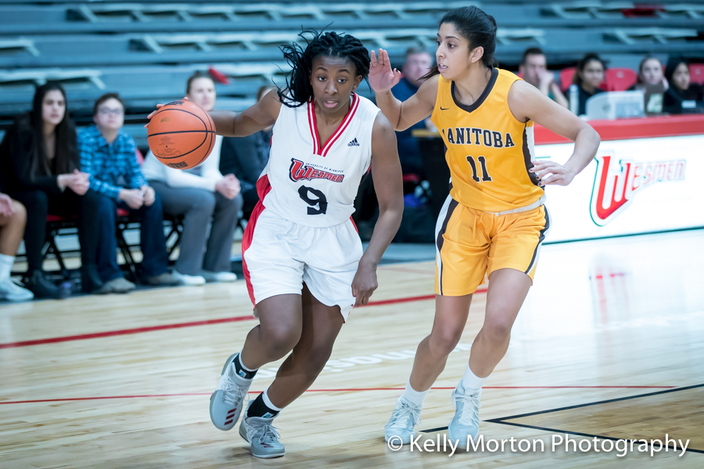 Faith Hezekiah had 19 points and 18 rebounds to lead the Winnipeg Wesmen past the Manitoba Bisons Saturday night. (Kelly Morton photo)