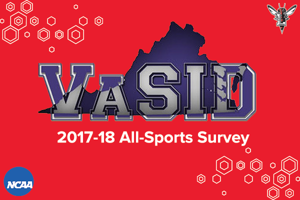Red background with honeycomb effect and VaSID logo in center. Text: VaSID 2017-18 All-Sports Survey. Logos: NCAA and Lynchburg Hornet.