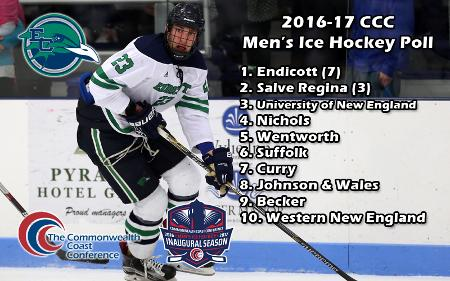 Men's Ice Hockey Picked Seventh in Commonwealth Coast Conference Coaches' Poll
