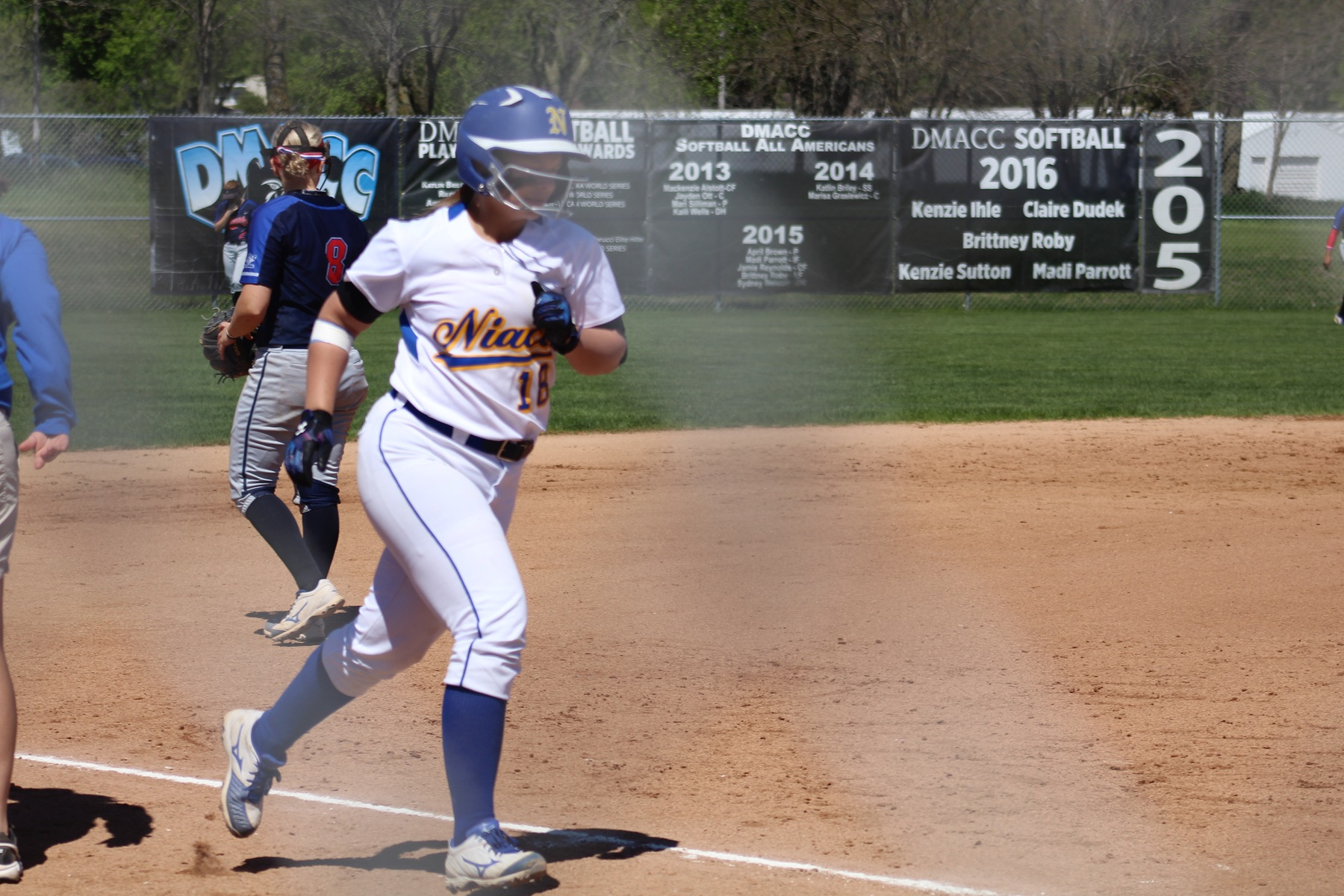 NIACC's Shelby Low rounds third base after hitting a home run in the fifth inning on Tuesday against DMACC.
