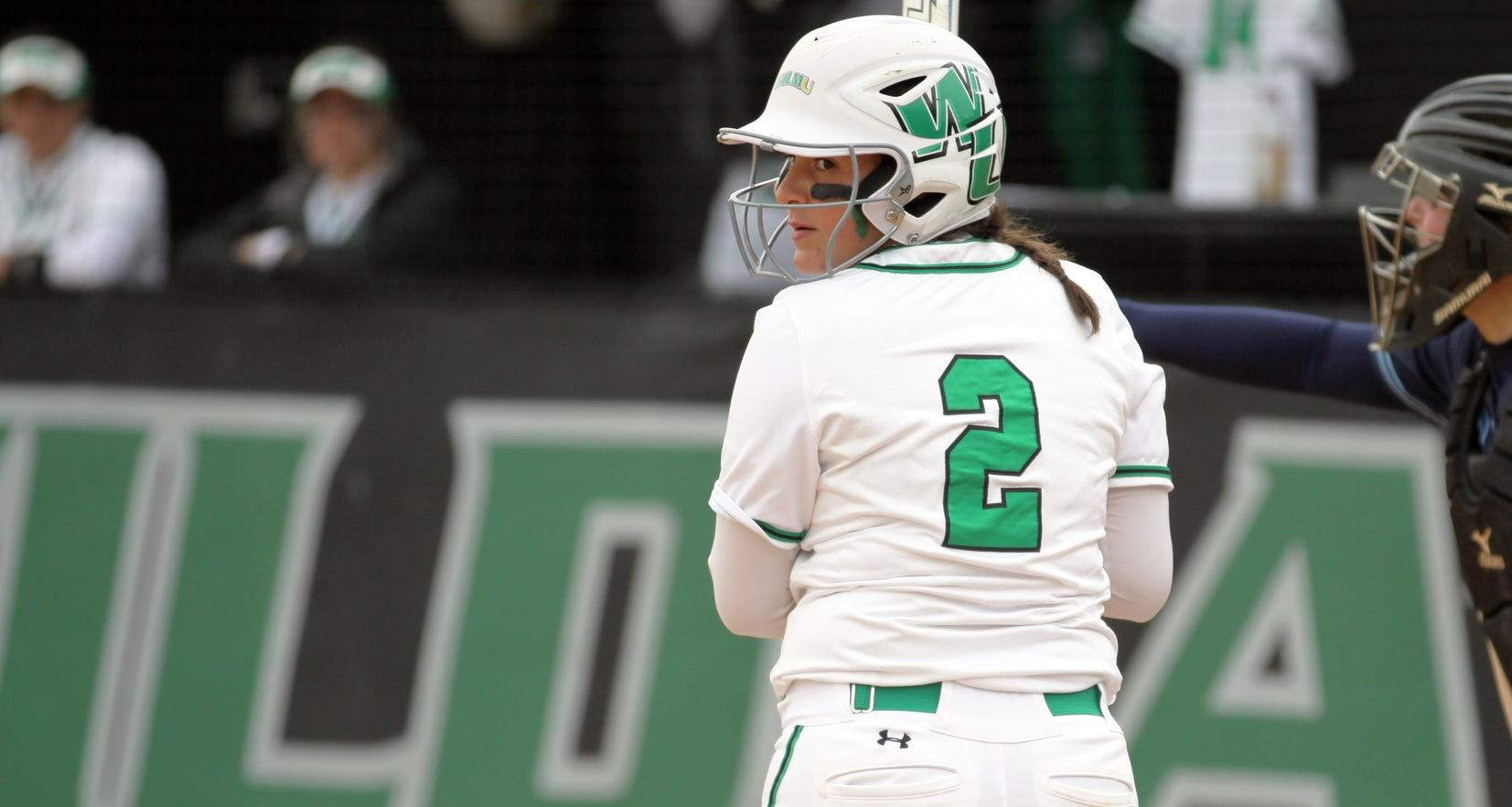Copyright 2019: Wilmington University. All rights reserved. File photo of Lauren Lopez who broke the single season record for RBI with eight RBI against Dominican, now with 54 on the year. Photo by Katlynne Tubo. April 2, 2019 vs. Jefferson (Game 1).