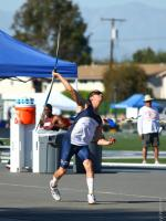 Jake Ostgaard throwing the javelin