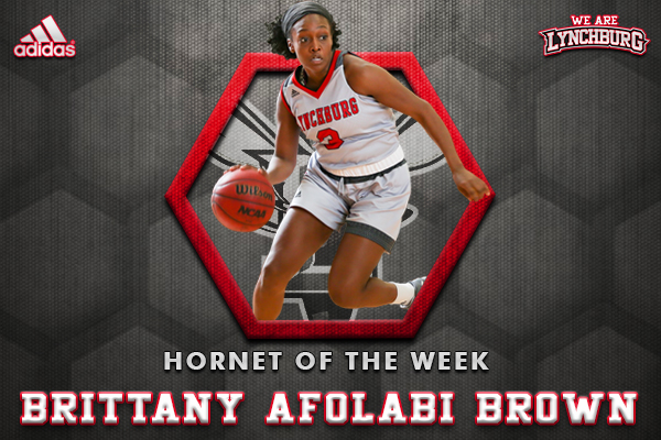 Brittany Afolabi-Brown shown playing basketball. Hornet of the Week graphic.