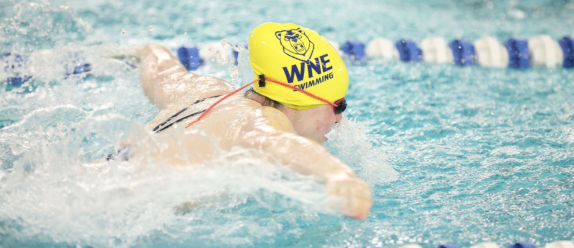 Senior Erika Sheinhait was a member of Western New England's record-breaking 200-yard medley relay team on Saturday at the NEISDA Championships. (Photo by Chris Marion)