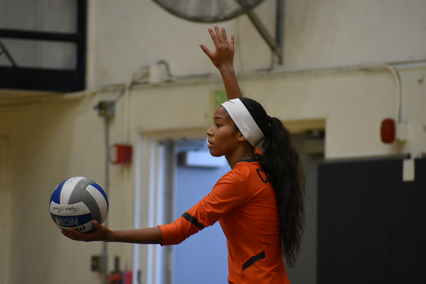 Setter Vanessa Warren focuses on her next serve. Image: Thomas Garcia