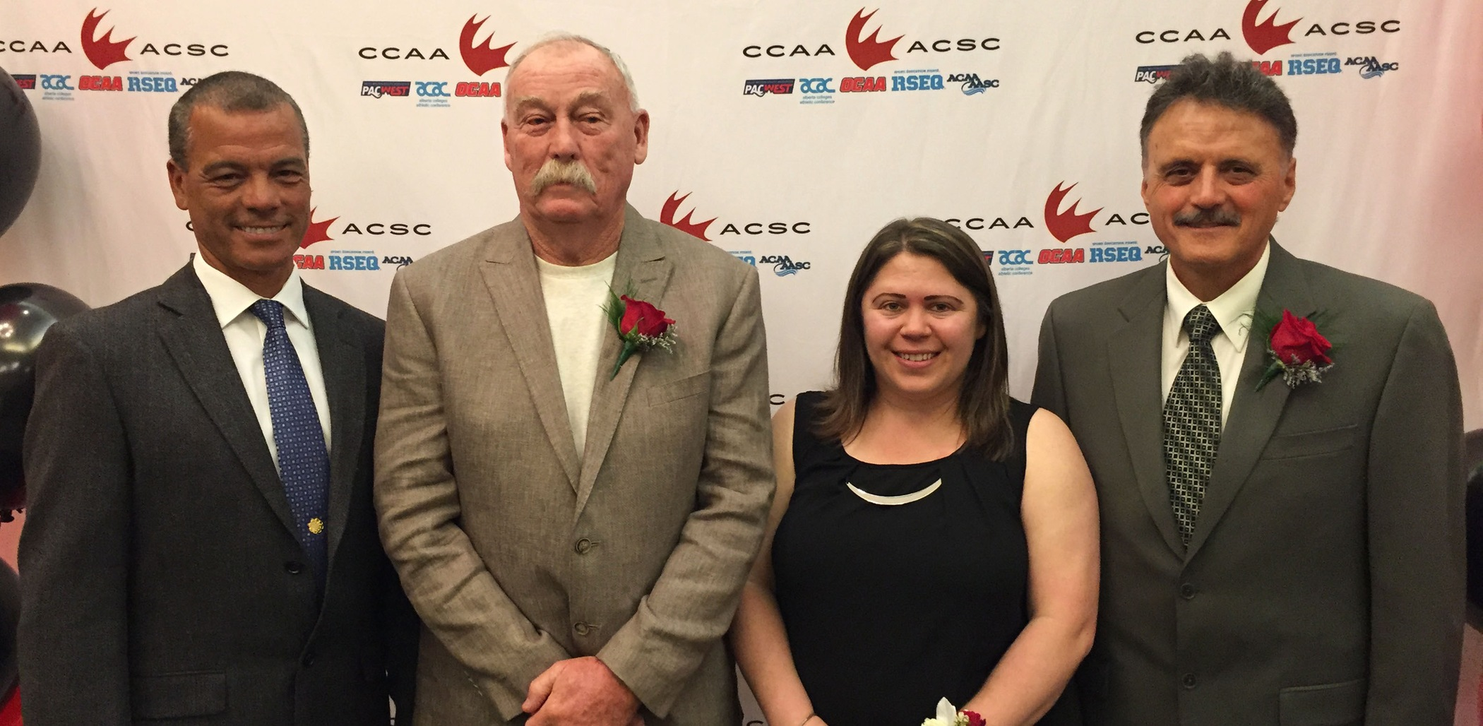 L-R: CapU Manager of Athletics & Recreation Milt Williams, coach inductee Doug Abercrombie, athlete inductee Melissa Artuso, coach inductee Joe Iacobellis