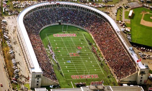 "Harvard Stadium is the always sold-out site of the historic Harvard-Yale football game, simply titled ""The Game"" for its national importance."