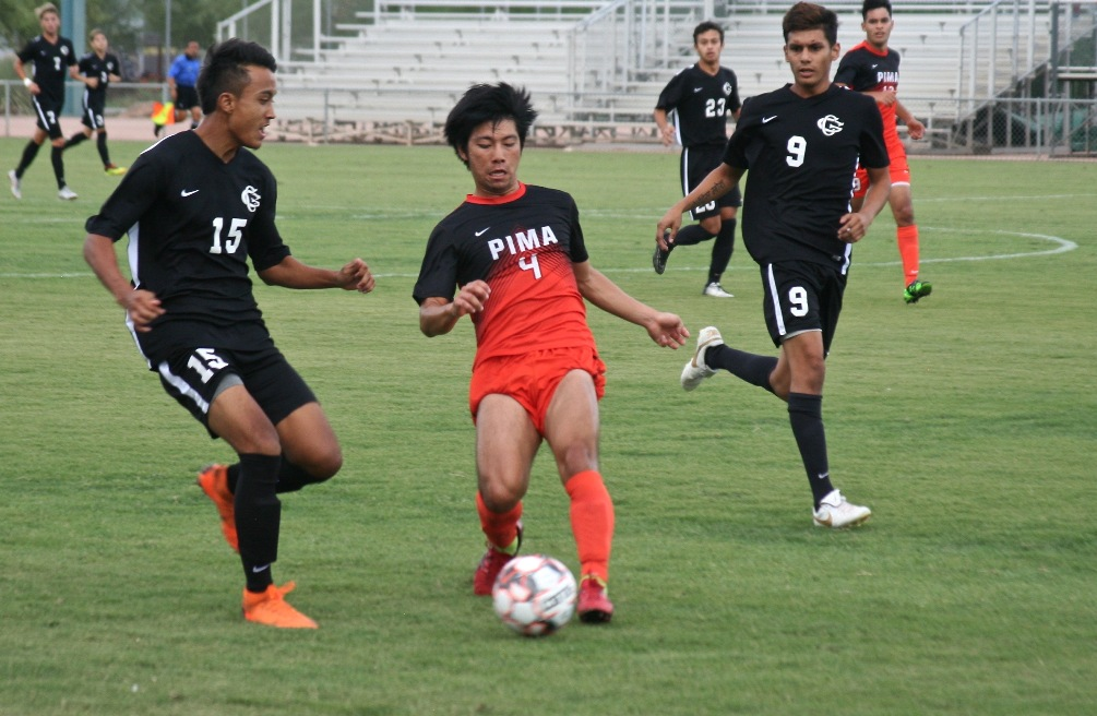 Freshman Yuki Jahara scored the eventual game-winning goal as the Aztecs men's soccer team beat No. 3 Phoenix College 1-0 handing the Bears their first loss of the season. The Aztecs won their eighth straight and are now 8-1 on the season. Photo by Stephanie Van Latum