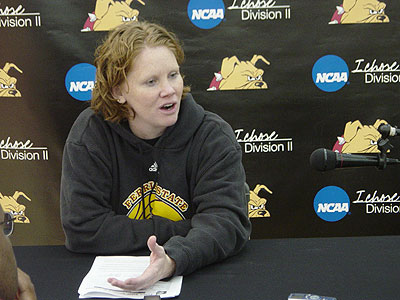 Ferris head coach Tracey Dorow talks with reporters during Wednesday's teleconference