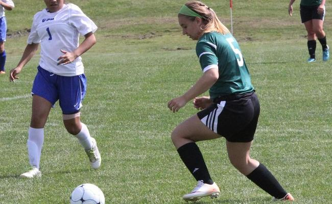 Freshman Haley Besaw (right) and the Keuka College women's soccer team scored four first-half goals in Wednesday's 4-0 win over Morrisville State (photo courtesy of Ed Webber, Keuka College Sports Information department).