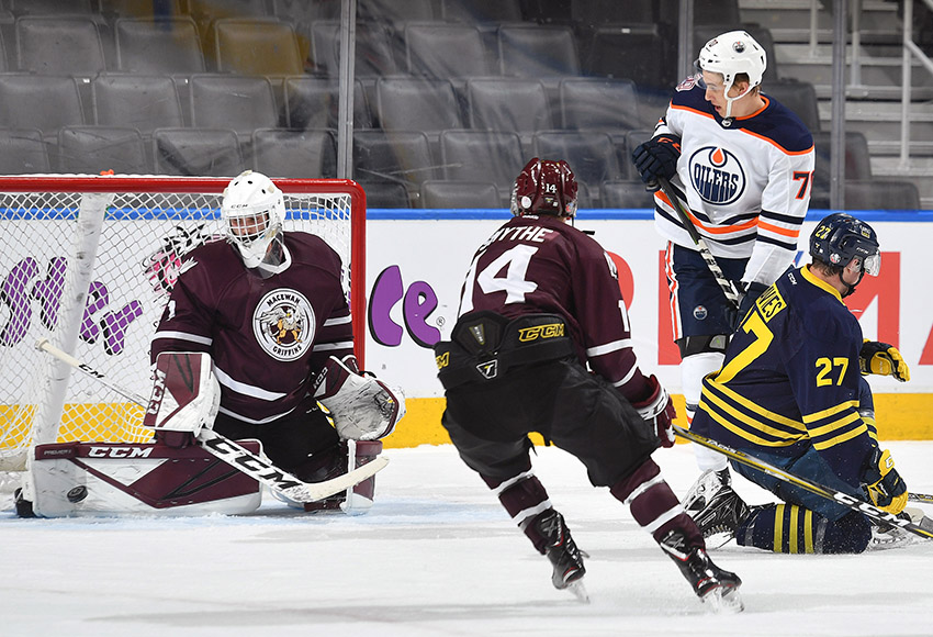 MacEwan Griffins goaltender Marc-Olivier Daigle stopped 30 of 34 shots, but the attack from the Oilers Rookies proved to be too much for the NAIT-MacEwan All-Stars to handle on Tuesday night in a 9-1 loss (Courtesy, Edmonton Oilers).