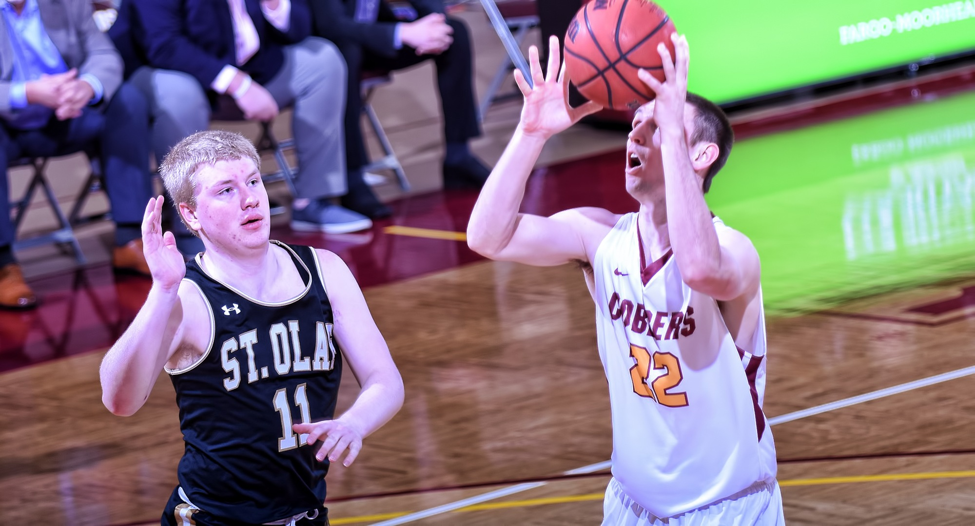 Junior Jacob Fredrickson went 3-for-5 from the floor, 5-for-7 from the free throw line and finished with a team-high 11 points in the Cobbers' game at St. Olaf.