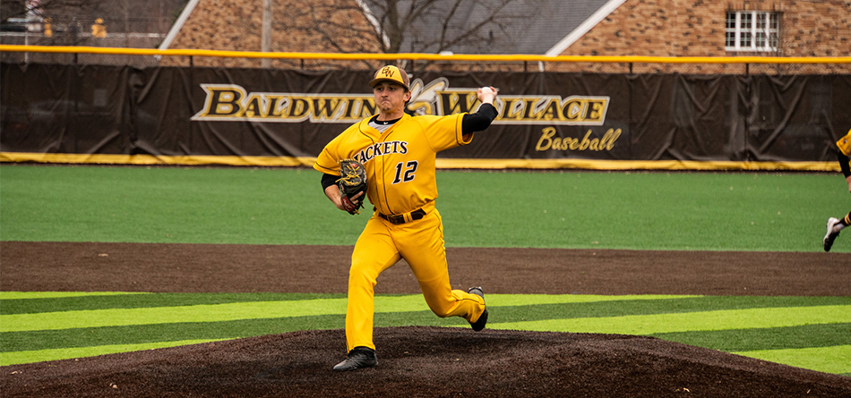 Senior Jack Raines went a career-high eight innings in the 9-1 victory over Ohio Northern in game two (Photo Courtesy of Alec Palmer)