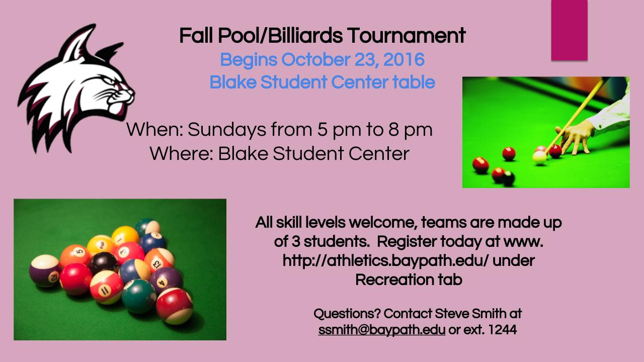 intramural sports at bay path university bay path team pool tour nt information