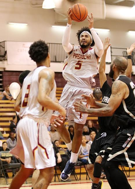 Todd Barnes goes up for a shot during PCC's win over Rio Hondo Wednesday night.