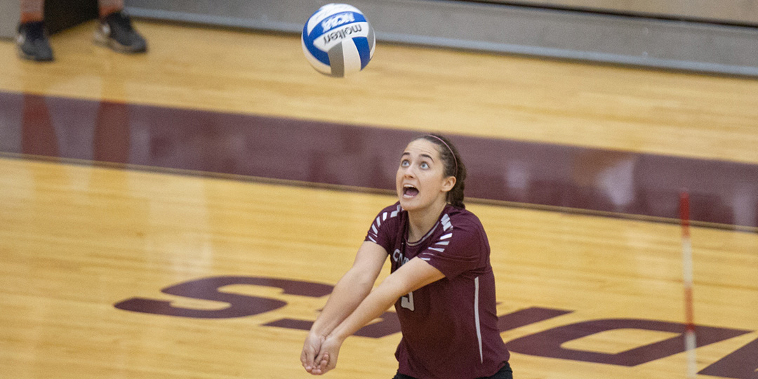 Senior Amanda Farr hit seven service aces in match one (Photo courtesy of Curt Youngblood).