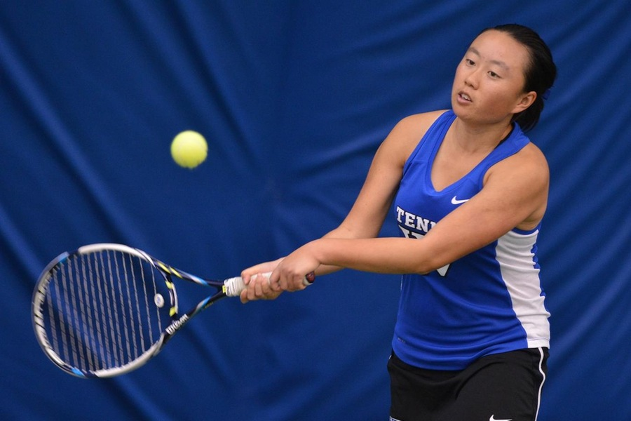 Junior Justine Huang earned victories in both singles and doubles play for the Blue (Gil Talbot).