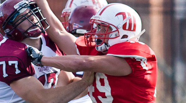 Senior linebacker Jon Daniels' game-changing efforts, including two fumble recoveries and one forced fumble, have earned him Defensive Player of the Week honors from the NCAC. File Photo | Erin Pence