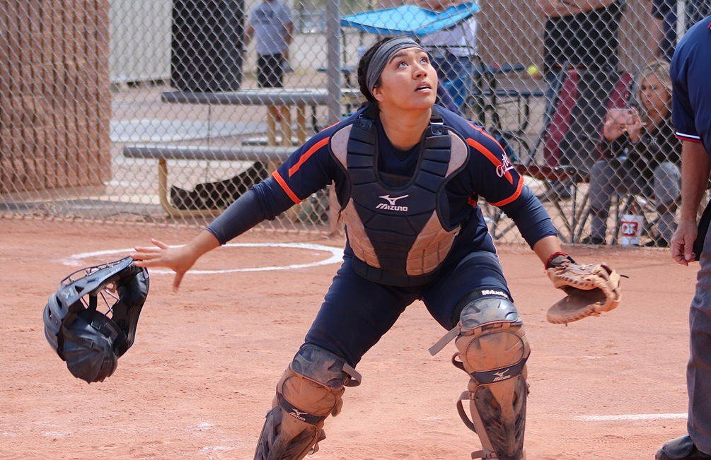 Sophomore Alizea Durazo-Corday (Pueblo HS) went 2 for 4 with five RBIs; which included a three-run homer but the Aztecs dropped both games at Eastern Arizona College. The Aztecs are now 23-22 overall and 19-19 in ACCAC conference play. Photo by Stephanie Van Latum