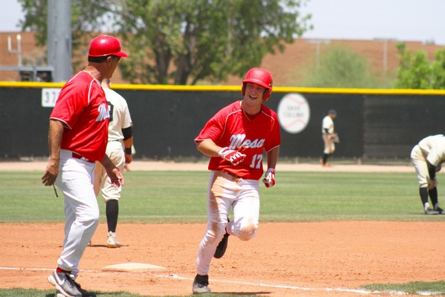 Ben Lewis (#17) is all smiles as he heads home from a Cameron Cruz home run.  It was Lewis though that helped Mesa score their first four runs of the game. (Photo by Aaron Webster)