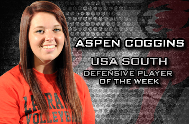 Volleyball: Coggins named USA South Volleyball Defensive Player of the Week