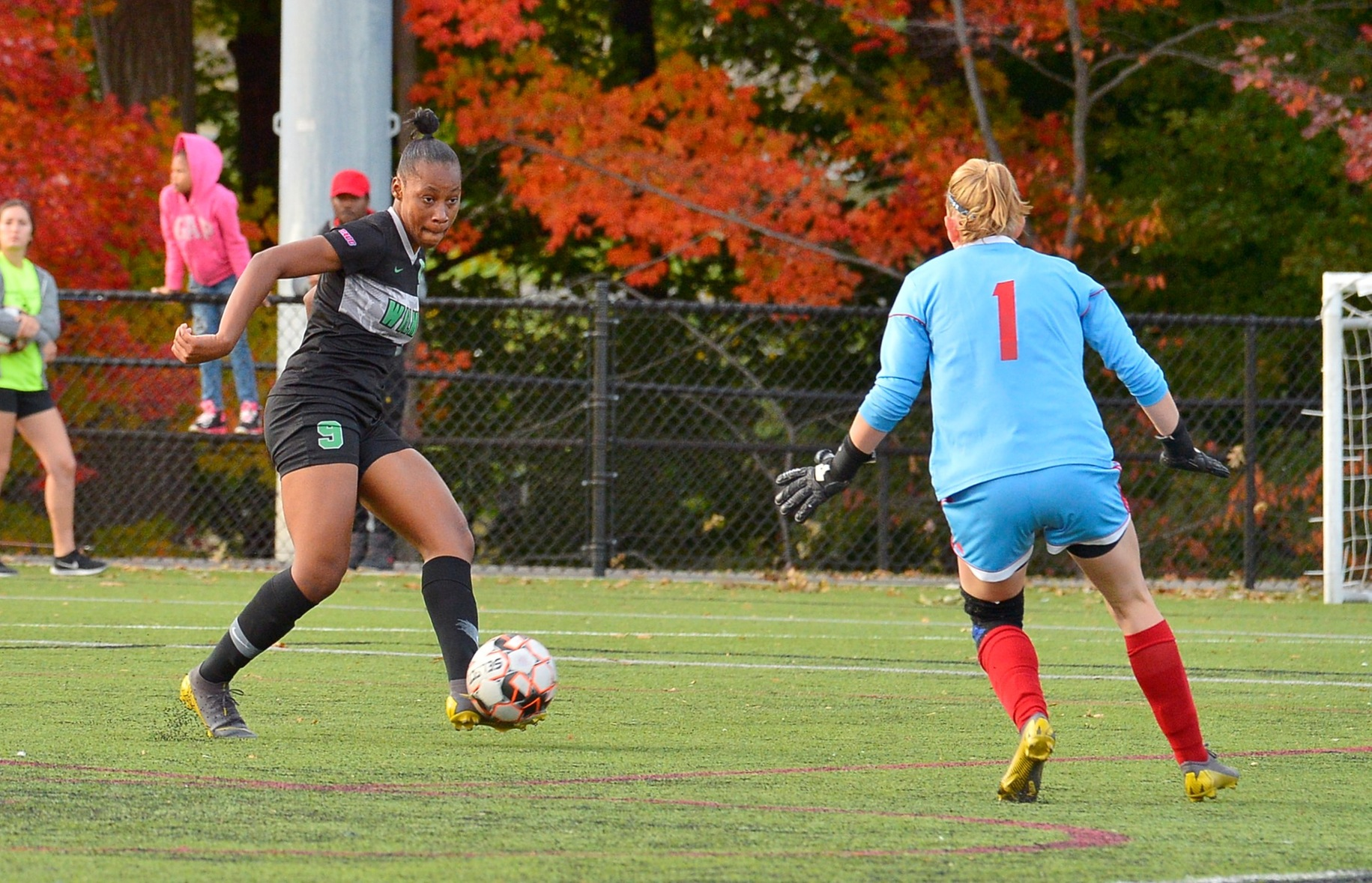 Photo of Rockesha Dayes scoring the game-winner in the 85th minute. Copyright 2019; Wilmington University. All rights reserved. Photo by James Jones. October 26, 2019 at Nyack.
