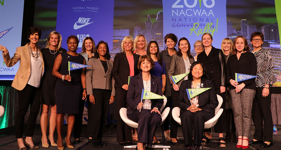 Lori Hendricks '92 (4th from the right standing), along with the other members of the 2016-17 NACWAA Board of Directors.
