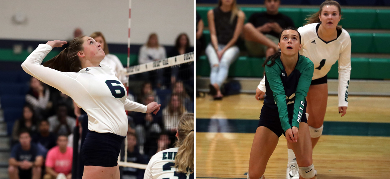 Split image of Colleen McAvoy hitting at the net on the left, and Mackenzie Kennedy receiving a free ball on the right.