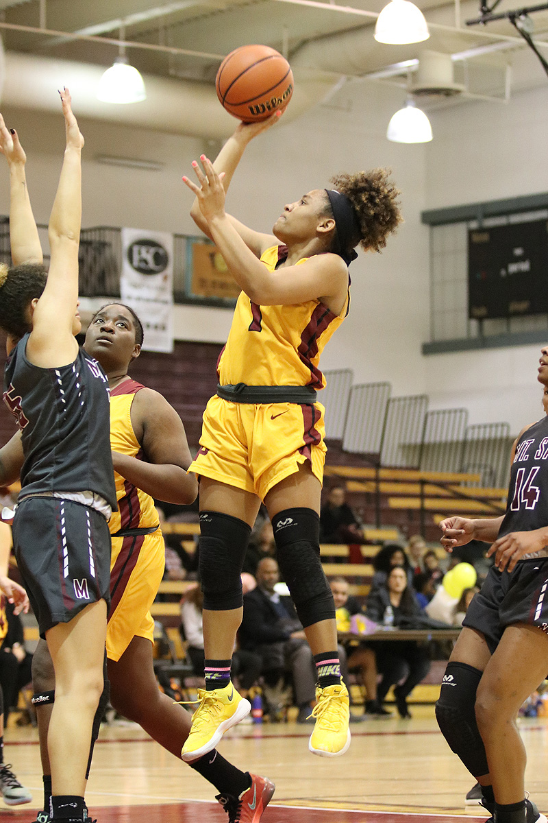 Cosette Balmy with a jump shot in PCC's contest v. Mt. San Antonio on Wednesday night, photo by Richard Quinton.