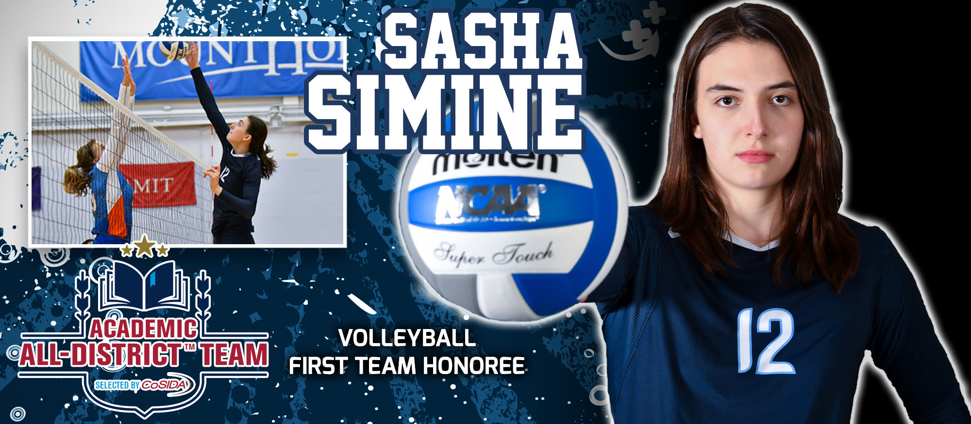 Graphic showcasing sophomore volleyball player, Sasha Simine, who was named to the CoSIDA Academic All-District First Team in volleyball on November 16.