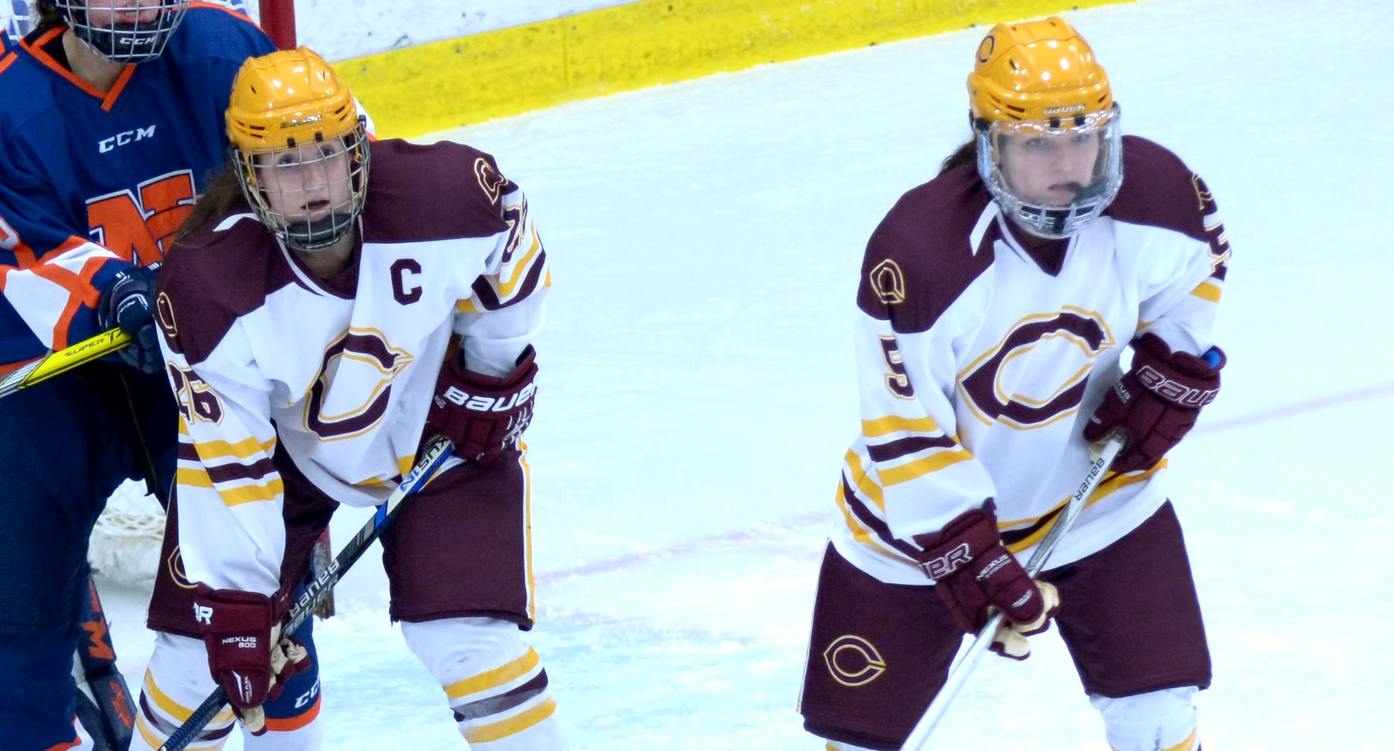 Senior Tori Davis (L) and Josee Lundgren had the Cobbers' goals in their game at nationally ranked Wis.-Eau Claire.