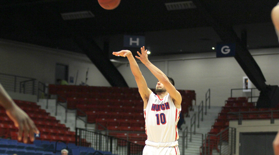 Tyler Brown nails 5 of 6 from 3-point range for a career-high 17 points in Hutchinson's 81-68 win over Northwest Tech on Wednesday night at the Sports Arena. (Bre Rogers/Blue Dragon Sports Information)