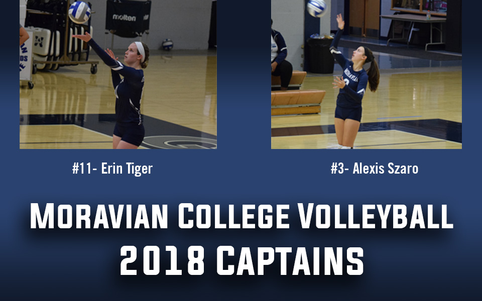 Erin Tiger '19 and Alexis Szaro '20 named 2018 women's volleyball team captains.