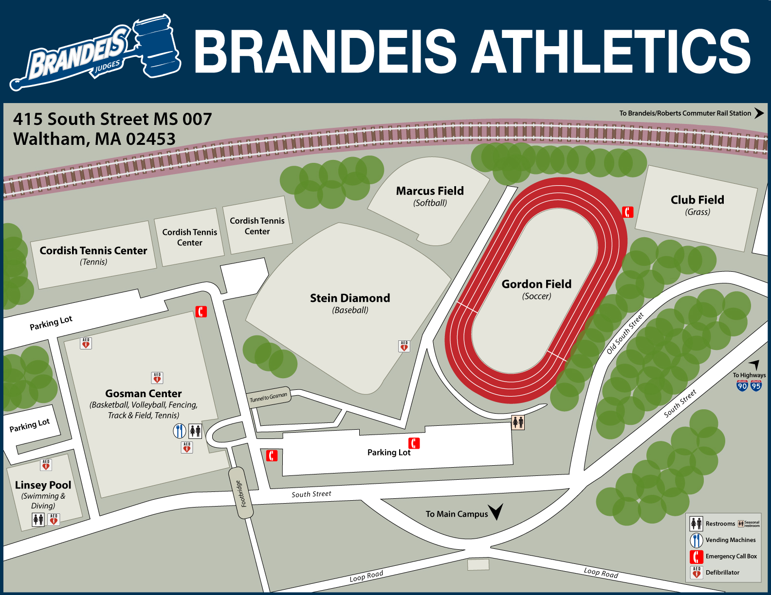 Map of Brandeis Athletics facilities:Gosman Center, Stein Diamond, Gordon Field, Rieger Tennis Courts, Marcus Field, Linsey Pool and parking located on the south side of 415 South Street (Brandeis Main Campus), Waltham MA 02453