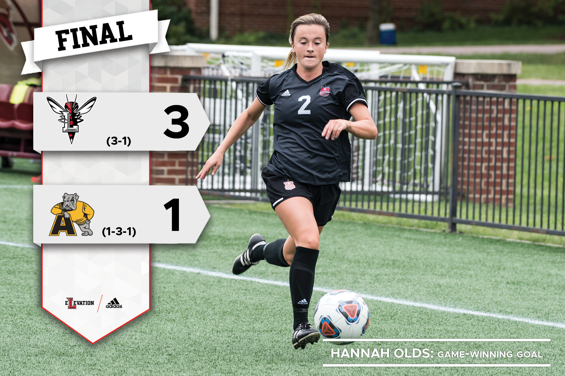 Hannah Olds dribbles the soccer ball. Graphic showing 3-1 final score as Lynchburg defeats Adrian.