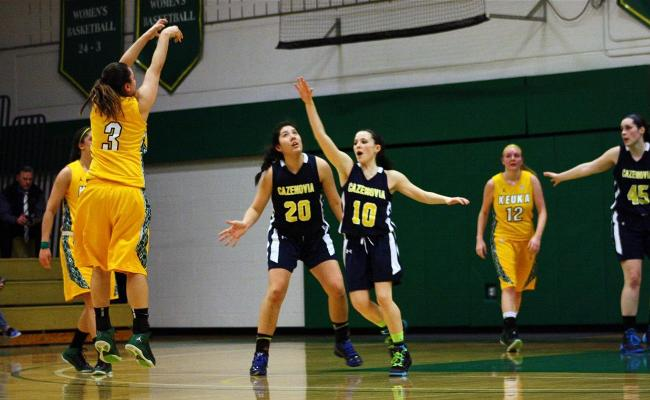 Senior Danielle Gravel scored 17 points and became the Keuka College career leader in made '3s' during Wednesday night's 60-52 win over Cazenovia College (photo courtesy of Taylor Smith, Keuka College Sports Information Department).